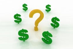 Dollar signs surrounding a question mark