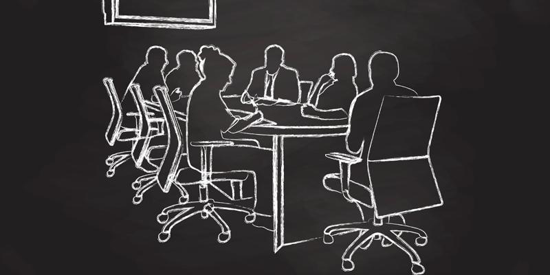 chalkboard drawing of a board meeting