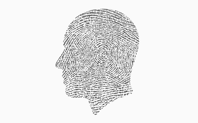 fingerprint in the shape of a human head