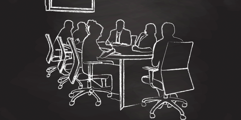 chalkboard drawing of a board meeting